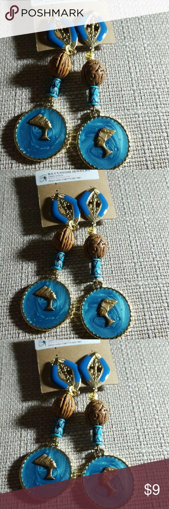 Queen Nefertiti post earrings Queen Nefertiti post earrings.   Turquoise color, briwn owach pit beads. Jewelry Earrings