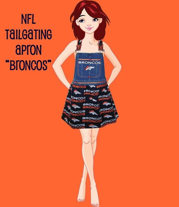Go Broncos Apron - NFL Bronco Football Women Size Medium to Large. $35.00, via Etsy.