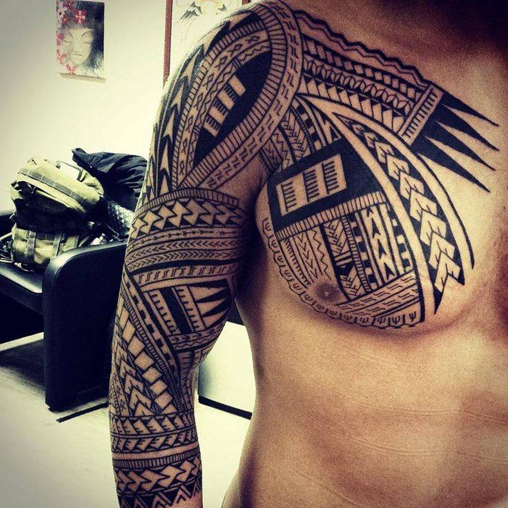 http://tattooideas247.com/tribal-chest-sleeve/