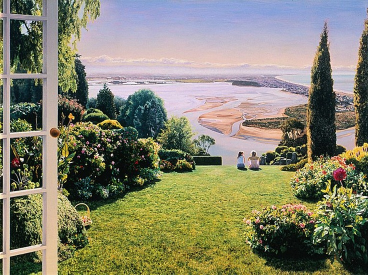 Overlooking Southshore, Christchurch painting by Kees Bruin, artist in Christchurch.