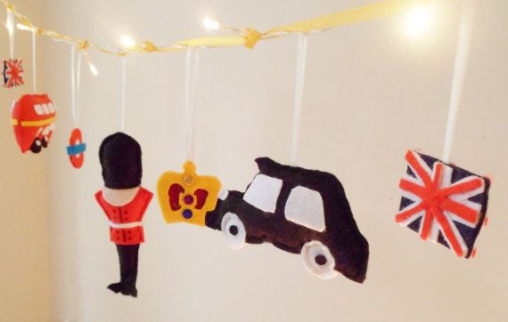 London fairy lights, modern nursery, london red bus, london taxi, big ben, scots guard, union jack, crown on Etsy, £26.00