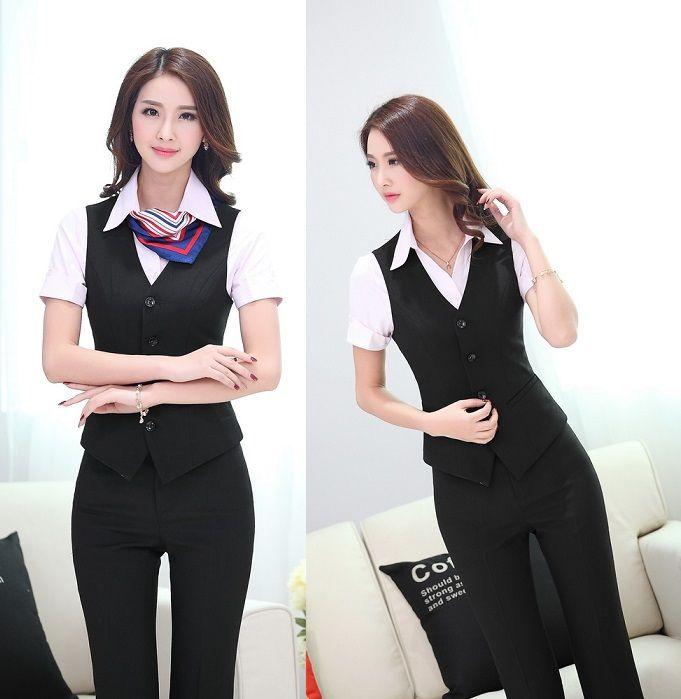 Uniform Design Spring Summer Professional Business Suits Vest + ...
