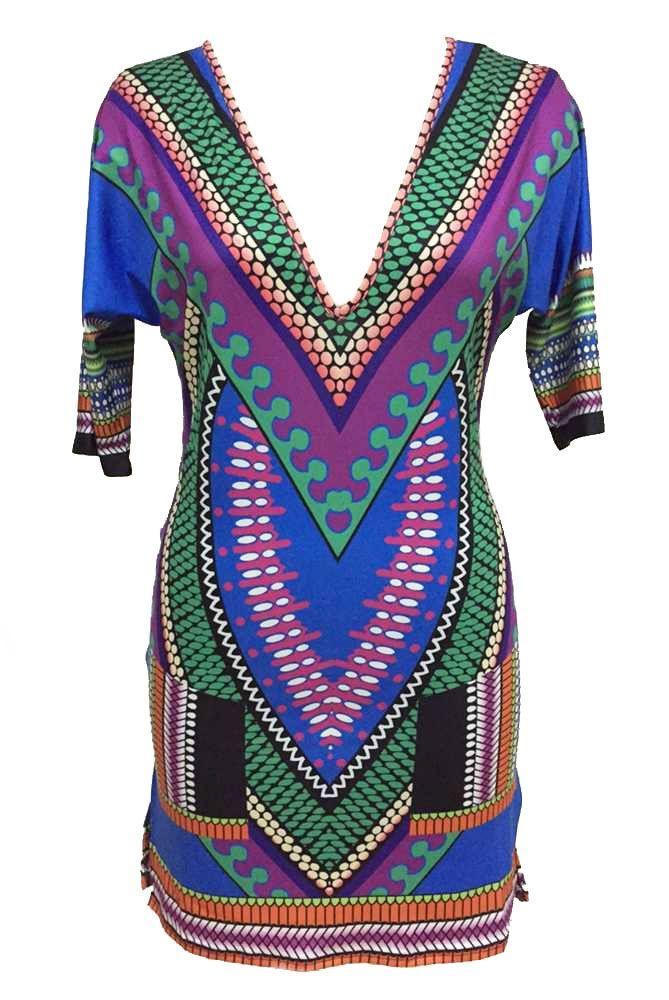 Impression Robes Multi V Cou Vintage Africaine Robe Tribal Pas Cher www.modebuy.com @Modebuy #Modebuy #CommeMontre #dress #me #likeforlike