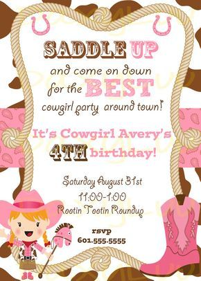 Cowgirl Birthday Party Invitation Pink and Brown por DaxyLuu