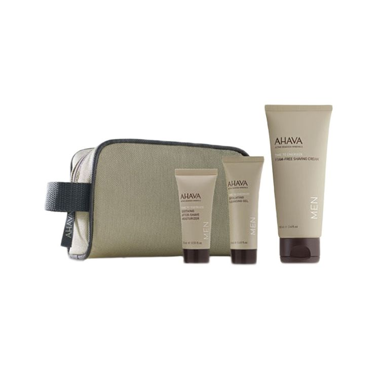 The best of AHAVA for Men in airline-approved sizes and a convenient travel bag for fresh skin on-the-go!