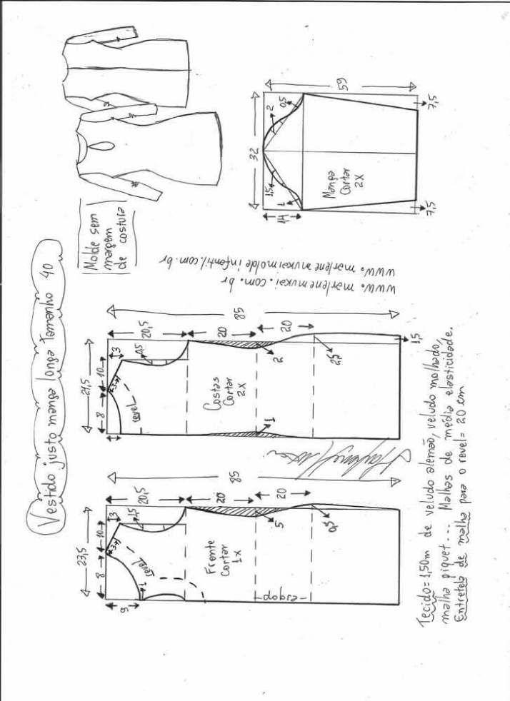 Patrón vestido ajustado de manga larga Patrón para hacer un lindo vestido ajustado con manga larga. Tallas desde la 36 hasta la 56.   Talla 36: Talla 38: Talla 40: Talla 42: Talla 44: Talla 46: Talla 48: Talla 50: Talla 52: Talla 54: Talla 56: Fuente:http://www.marlenemukai.com.br/ Patrón vestido con escote cruzadoPatrón Vestido Imperio …
