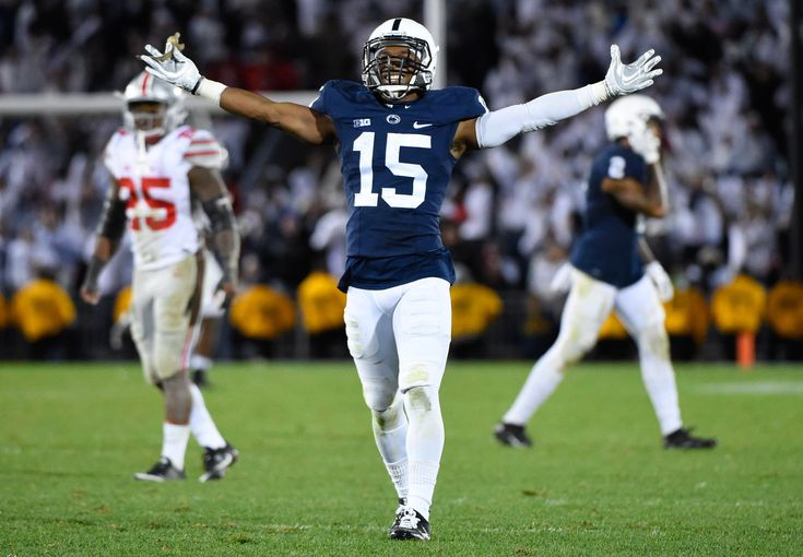 Oct 22, 2016; University Park, PA, USA; Penn State Nittany Lions cornerback Grant Haley (15) reacts against the Ohio State Buckeyes during the fourth quarter at Beaver Stadium. Penn State defeated Ohio State 24-21.  (3197×2219)