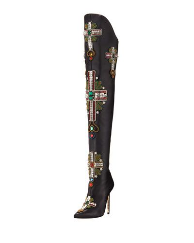 f2e9195c51 VERSACE OVER-THE-KNEE EMBELLISHED CROSS BOOT. #versace #shoes ...