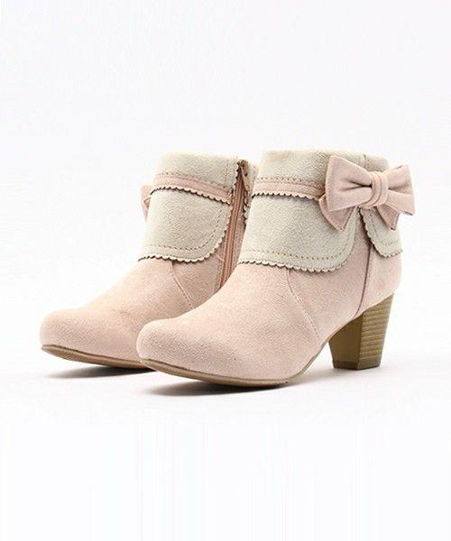 axes femme(アクシーズファム)のサイドリボンショートブーツ(ブーツ)|ピンク