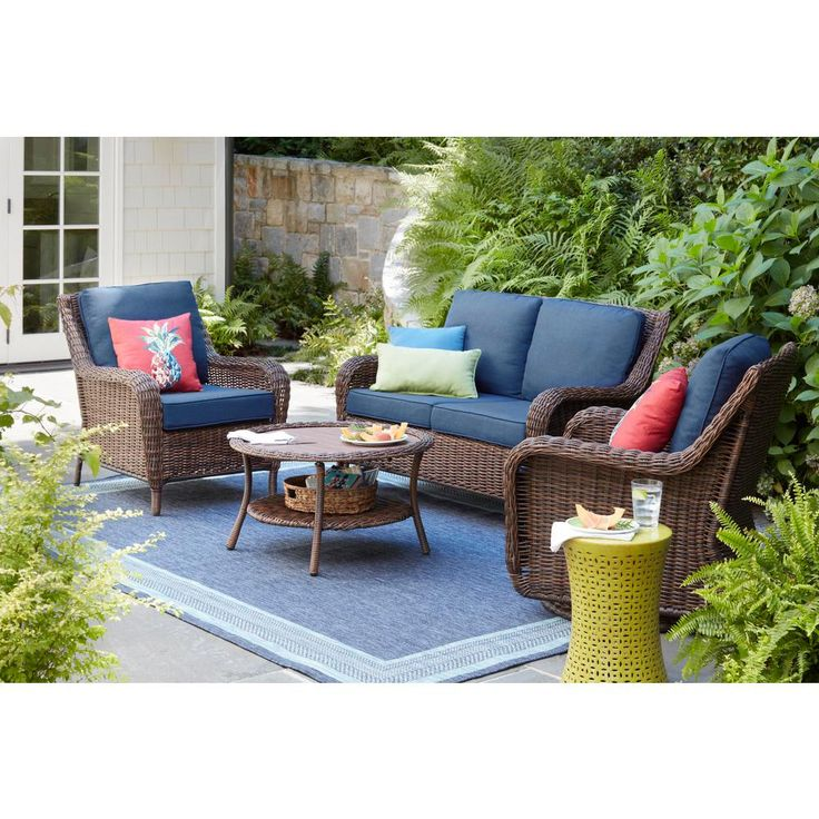 Hampton Bay Cambridge Brown Wicker Outdoor Patio Loveseat With Cushionguard Midnight Navy Blue Cushions 65 17148b3 The Home Depot Outdoor Lounge Furniture Porch Furniture Outdoor Patio Furniture