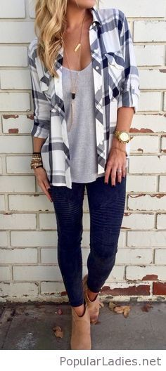 nude-boots-jeans-grey-tee-and-plaid-shirt