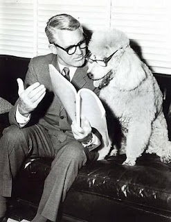 Apparently Cary Grant liked to read over his scripts with his furry friend...