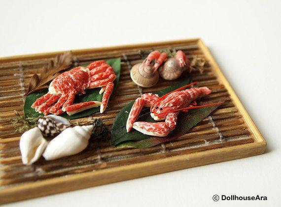 SEAFOOD decor set Lobster, shrimp, crab- handmade Dollhouse Miniatures 1/12