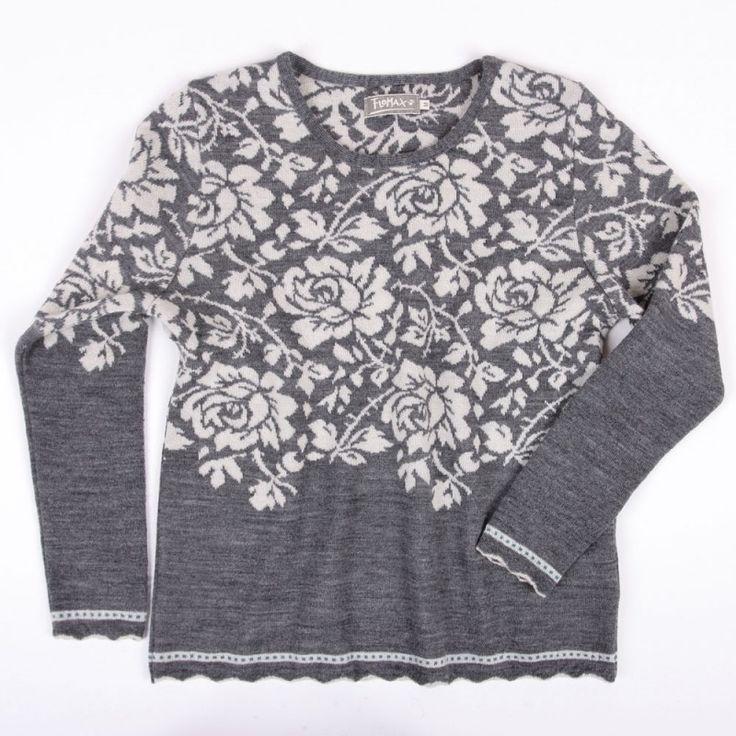 Pullover Rosen schiefer|natur