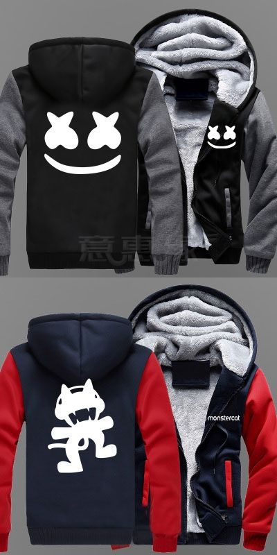 BOOCRE New Winter Jackets and Coats Marshmello hoodie DJ Hooded Thick  Zipper Men Sweatshirts db9882deba1