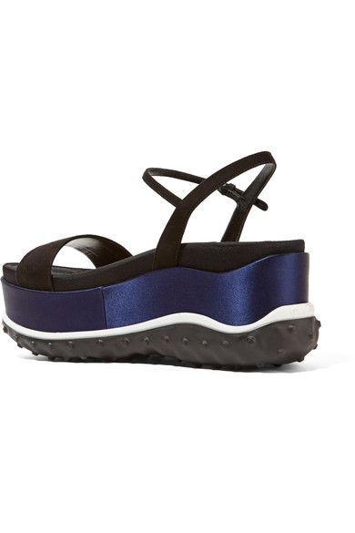 Miu Miu - Suede, Faille And Satin Platform Sandals - SALE20 at Checkout for an extra 20% off
