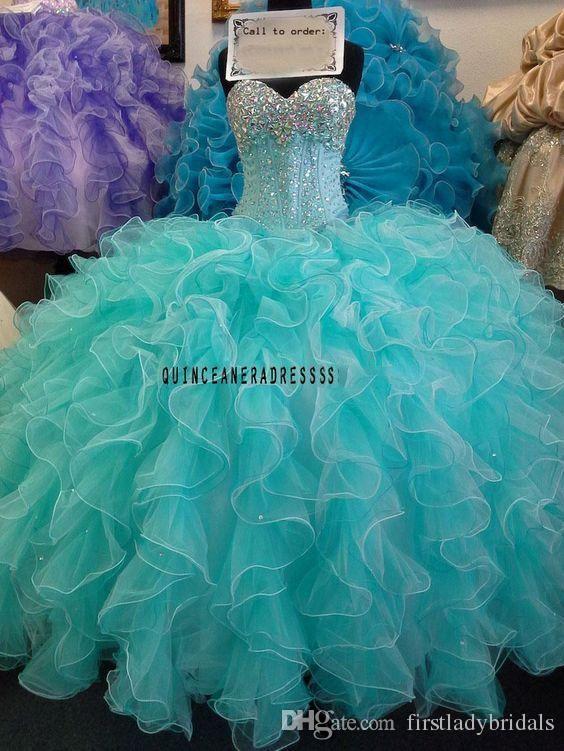 acef8412cba 2016 Mint Green Quinceanera Ball Gowns Dresses Ruffles Sweetheart Beaded  Crystals Sweet 16 Dresses Custom Made Vestido De 15 Anos On Line