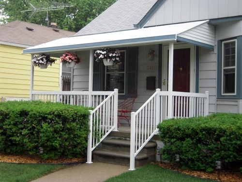 Straight Style Aluminum Awning With 2 5 Square Posts Traditional
