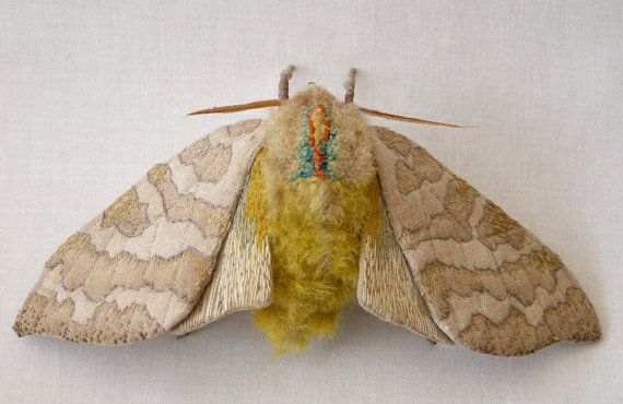Fabric sculpture -Large banded tussock moth textile art