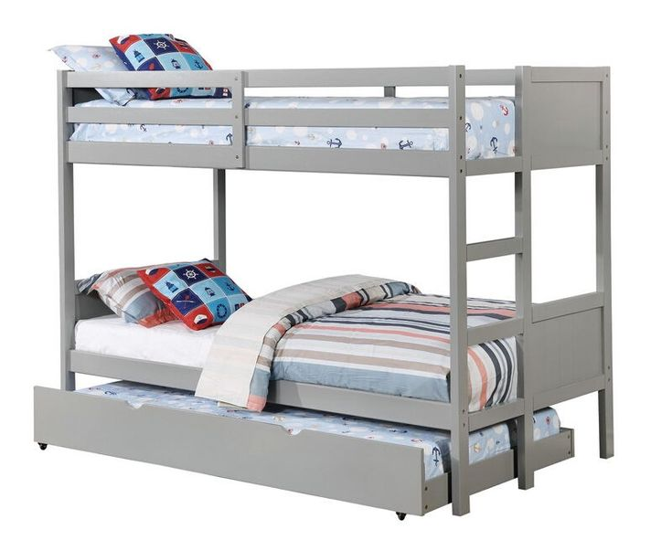 "Annette collection gray finish wood twin over twin paneled headboards bunk bed set.  Features a paneled look head and foot board.  Bunk bed measures 77 1/2"" x 42 3/8"" x 64 1/2"" H.  Some assembly required.  Trundle also available separately at additional cost."