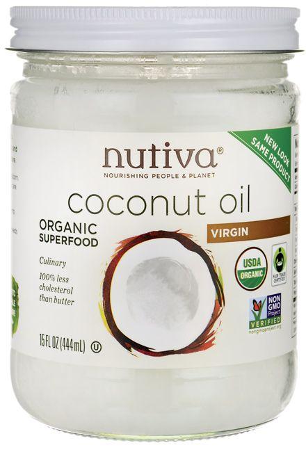 Nutiva Coconut Oil Organic Superfood Virgin 15 fl oz (444 mL) Solid Oil - Swanson Health Products