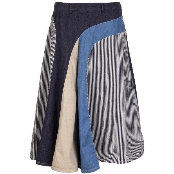 KAPITAL patchwork skirt ($309) found on Polyvore