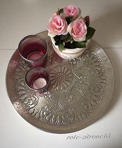 Orientalisch Metall Tee Tablet Serviertablett silber Orient Deko Chic Landhaus | eBay