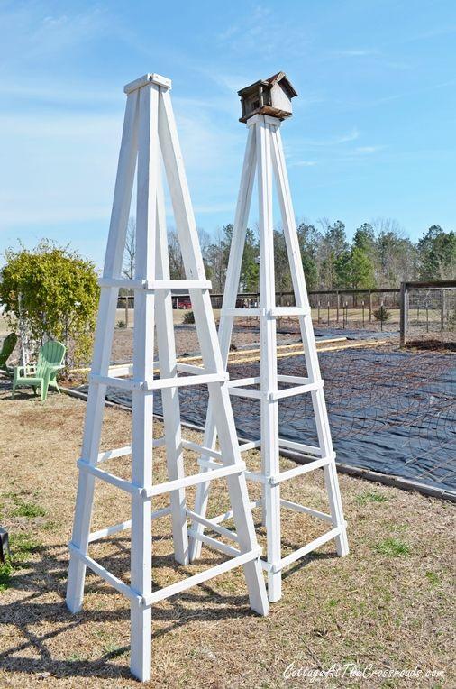DIY Wooden Garden Obelisk   Cottage at the Crossroads