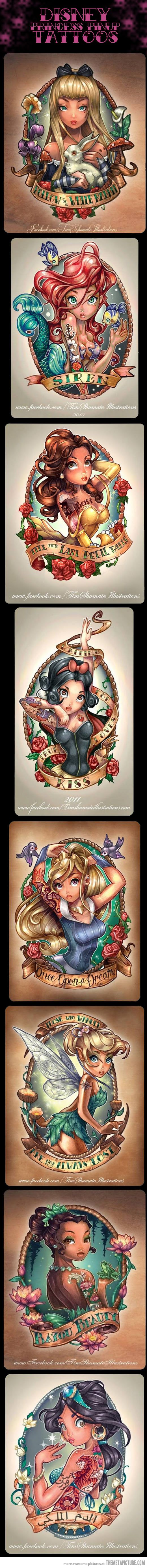8 Very Cool Disney Princess Pinup Tattoos…