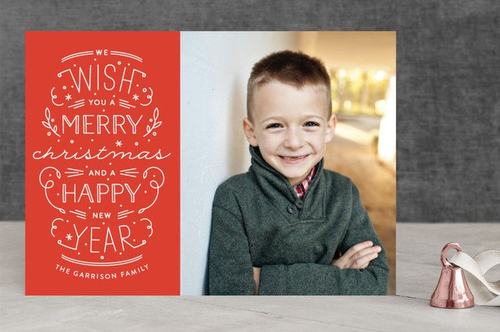 """""""Merry Christmas Happy Year"""" - Typography Holiday Photo Cards in Persimmon by Phrosne Ras. #merry #happyholidays #foil #gold #rosegold #merrychristmas #photocards #minted #holidayscards #cards #christmas #holiday #happynewyear #cheers #love #merrybright #religious #bright #joy #clean #simple #modern #elegant #glitter"""
