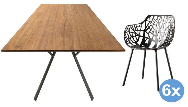 Radice Quadra Teak tuinset 200x90 tafel + 6 stoelen (armchair) | Fast