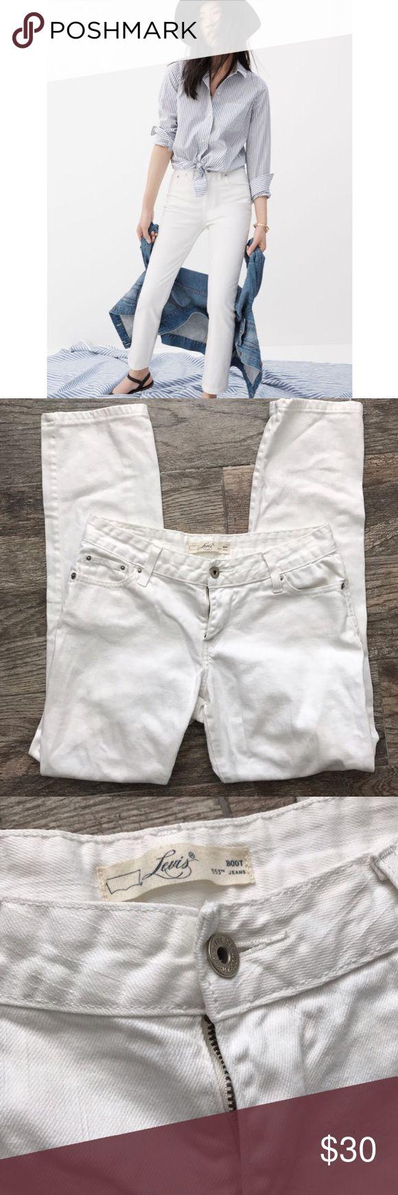 "Levi's 553 White Bootcut Jeans Levi's 553 White Bootcut Jeans - 99% cotton, 1% elastane. Inseam 27"" long. Size 2 Levi's Jeans Boot Cut"