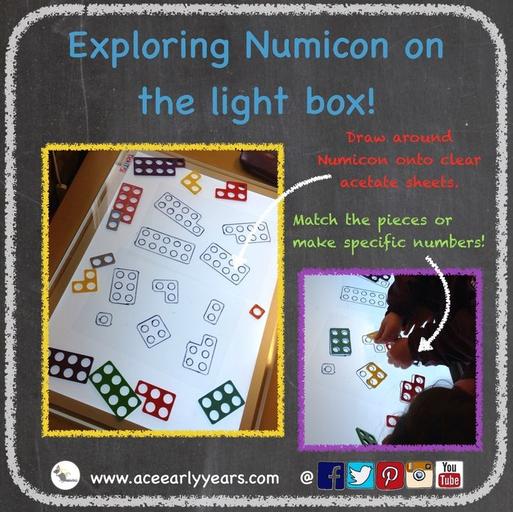 Use acetate sheets and draw around Numicon pieces. Children can match the pieces together or make specific numbers! #aceearlyyears #lightbox #numicon #earlyyears #earlymaths #eyfs #mathsactivities