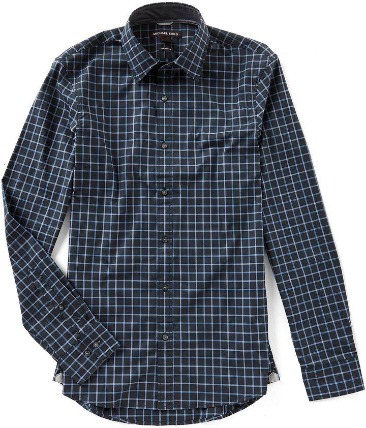 Michael Kors Brann Check Long-Sleeve Woven Shirt