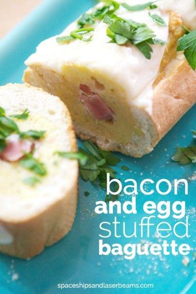 Amazing brunch idea - bacon and egg stuffed baguette
