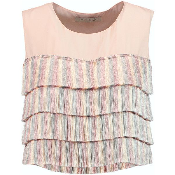 Alexis Jason fringed silk top (£133) ❤ liked on Polyvore featuring tops, blush, loose crop top, lavender crop top, lavender top, silk top and loose fitting tops