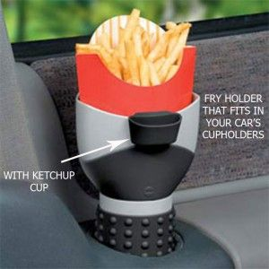 Not that I plan on eating in my new car for some time, but this is smart!Ideas, Birthday Presents, Frenchfries, French Fries, Cars Accessories, Fries Holders, Roads Trips, Fast Food