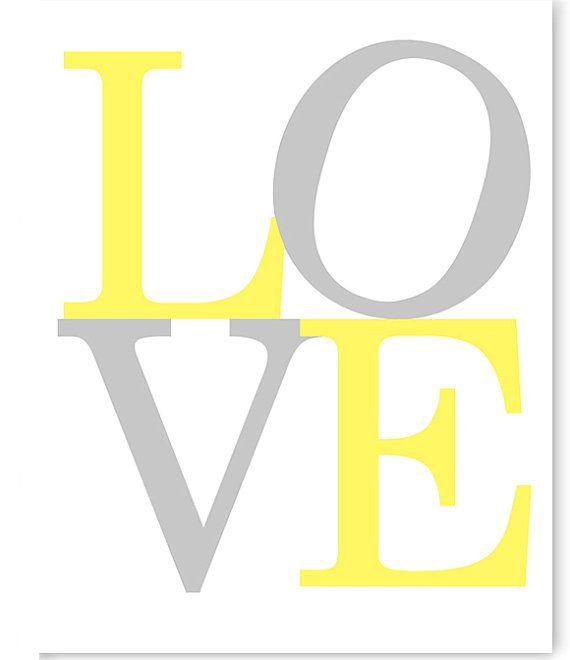 Love Print, Grey and Yellow, Gender Neutral Nursery Decor, Girl's Nursery Art, Lemon Yellow, Baby Decor, Baby Shower Gift, Lemon Yellow