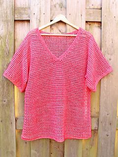 Free Crochet Pattern For Easy V Neck Pullover Tee ༺ ƬⱤღ