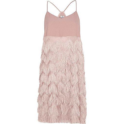 Light pink fringed slip dress - slip / cami dresses - dresses - women