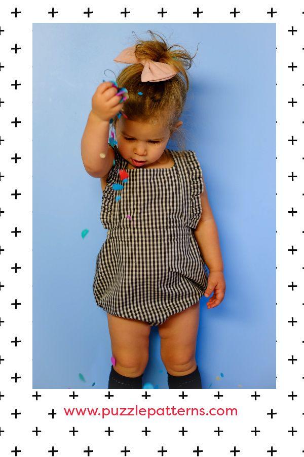Unisex, Girls, Boys, Romper, Playsuit, PDF sewing pattern, Puzzle Patterns.