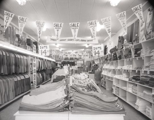 Suit sale in the old Red Deer Saan store on Ross Street, August 1954.