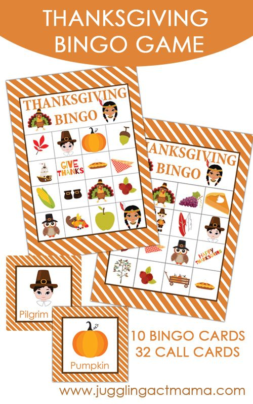 Free Printable Thanksgiving BINGO Set from Juggling Act Mama #thanksgiving #kidactivities #bingo