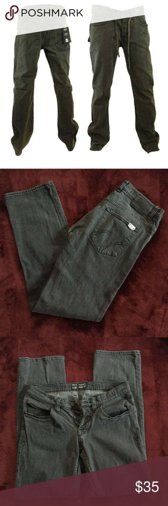 "Mike Mo Capaldi by Matix 30 Skater Jeans Charcoal Mike Mo Capaldi by Matix Skater Jeans  Size 30 Charcoal  Inseam Approx 30"" Button Fly  Does not come with original cord Matix Jeans Straight"