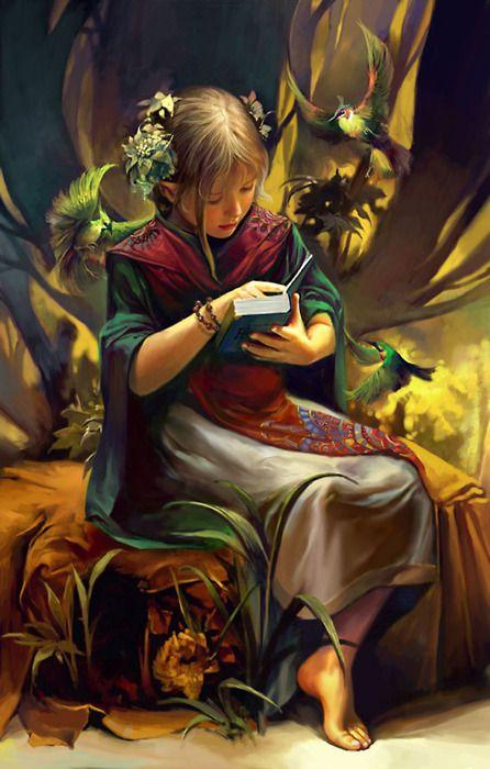 Chen Wei: Girls Reading, Digital Paintings, Fairyt Fantasy, Book, Art Drawings, Children, Fantasy Artworks, By Myself, Fairies Tales