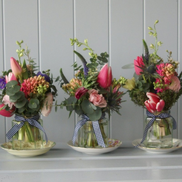 Thoughts on flowers... Matt says to aim higher than jam jars but I like it!