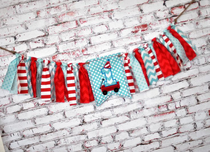 Shabby Rag Flag Fabric High Chair Banner - Little Red Wagon Radio Flyer Photo Prop - Red Aqua Birthday Party Cake Smash Decor Highchair - First Birthday