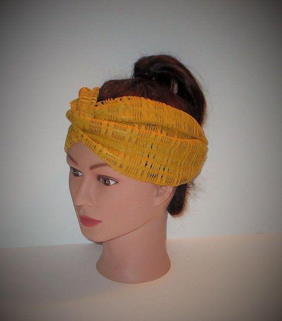 Mustard Yellow Mesh Turban Turban Headband Classic by TiStephani, $24.00