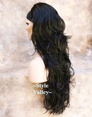 (Ad)eBay - Long Brown Black 3/4 Fall Long Wavy Half Wig Layered Hair Piece color #2