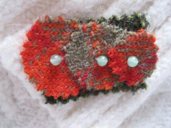 Harris Tweed Wool Fabric Brooch Lapel pin. by KnitwitDesignsUK